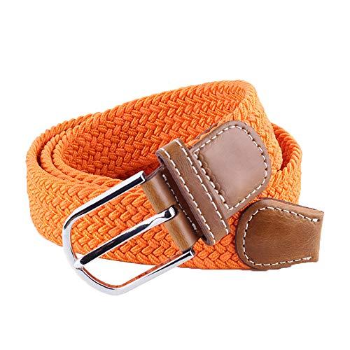 BOZEVON Cinturón elástico tejido - Multi-colores Cinturón de tejido elástico trenzado la tela de estiramiento para Hombres Mujeres Naranja