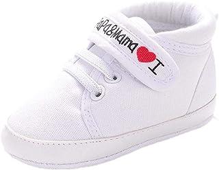 Scarpe Neonato Unisex in Pelle Morbida - Ricamo a Forma di Cuore - Sneaker Antiscivolo
