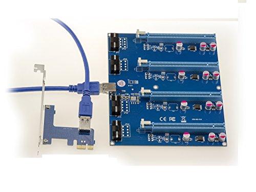 PCI-E express 1X a 4Puerto PCIe 16X riser Interruptor Tarjeta de múltiples con USB 3.0cable