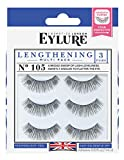 Eylure Lengthening False Eyelashes Multipack, Style No. 115 or 105, Reusable, Adhesive Included, 3 Count