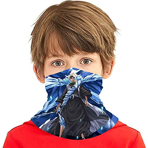 LAOLUCKY Bleach Hitsugaya Ice Dragon Neck Gaiter With 2 Filter UV Protection Ice Silk Face Cover Windproof Bandanas Breathable for Outdoor Sports Daily Wear