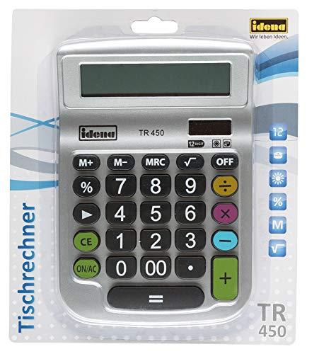 Idena 505292 - Tischrechner TR 450, 12-stelliges Display, Batteriebetrieb, Solarbetrieb, Wurzelberechnung, Prozentrechnung, Speicherfunktion, silber