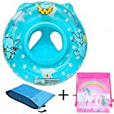Stravel Baby Pool Float for 3-36 Month Kids with Double Handle,Infant Inflatable Swim Ring Float Tube,Bathtub Toys Swimming Pool Accessories for Baby Kids Pool,Bathtub,Outdoor (Blue Type 1)