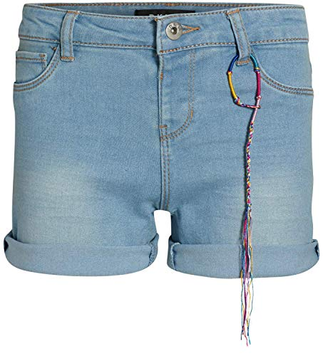 DKNY Girls Soft Touch Stretch Denim Shorts with Two Button Waist, Ludlow Wash, Size 8'