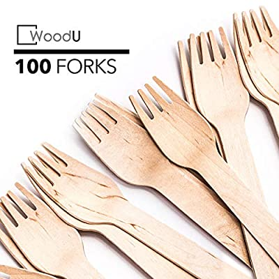 WoodU Disposable Wooden Forks Natural Birch Wood Biodegradable Utensils Cutlery Eco-Friendly Green