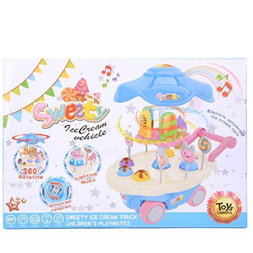 Juguete de carrito de helado de imaginación, postre colorido eléctrico y carrito de dulces con sonido de iluminación Juguete de comida preescolar para niñas(Azul)