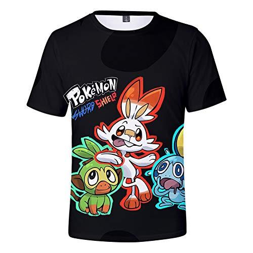 Pokemon épée et Bouclier nouveauté à Manches Courtes T-Shirt Unisexe 3D Print Summer Tops Loisirs de Plein air Costume de Sport Plage,A,XXXL