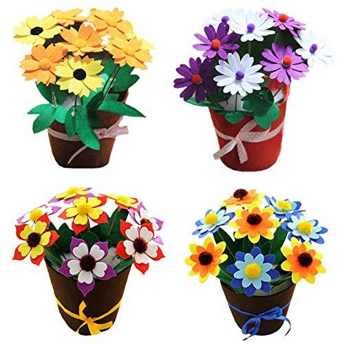 Dsaren Kit da Cucito Fai da Te per Bambini attività Creative Mestieri Stoffa di Feltro Cucito Vaso di Fiori (4 pacchi)