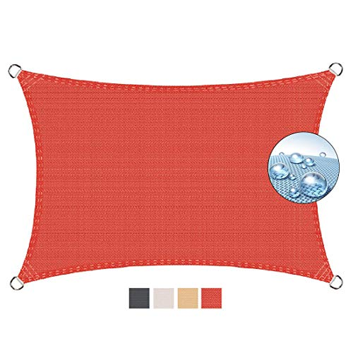 Aibingbao Toldo Vela de Sombra 4.5x6.5m Protección UV 95%, Toldos IKEA Impermeable, para Jardín Patio Terraza Balcón, Rojo