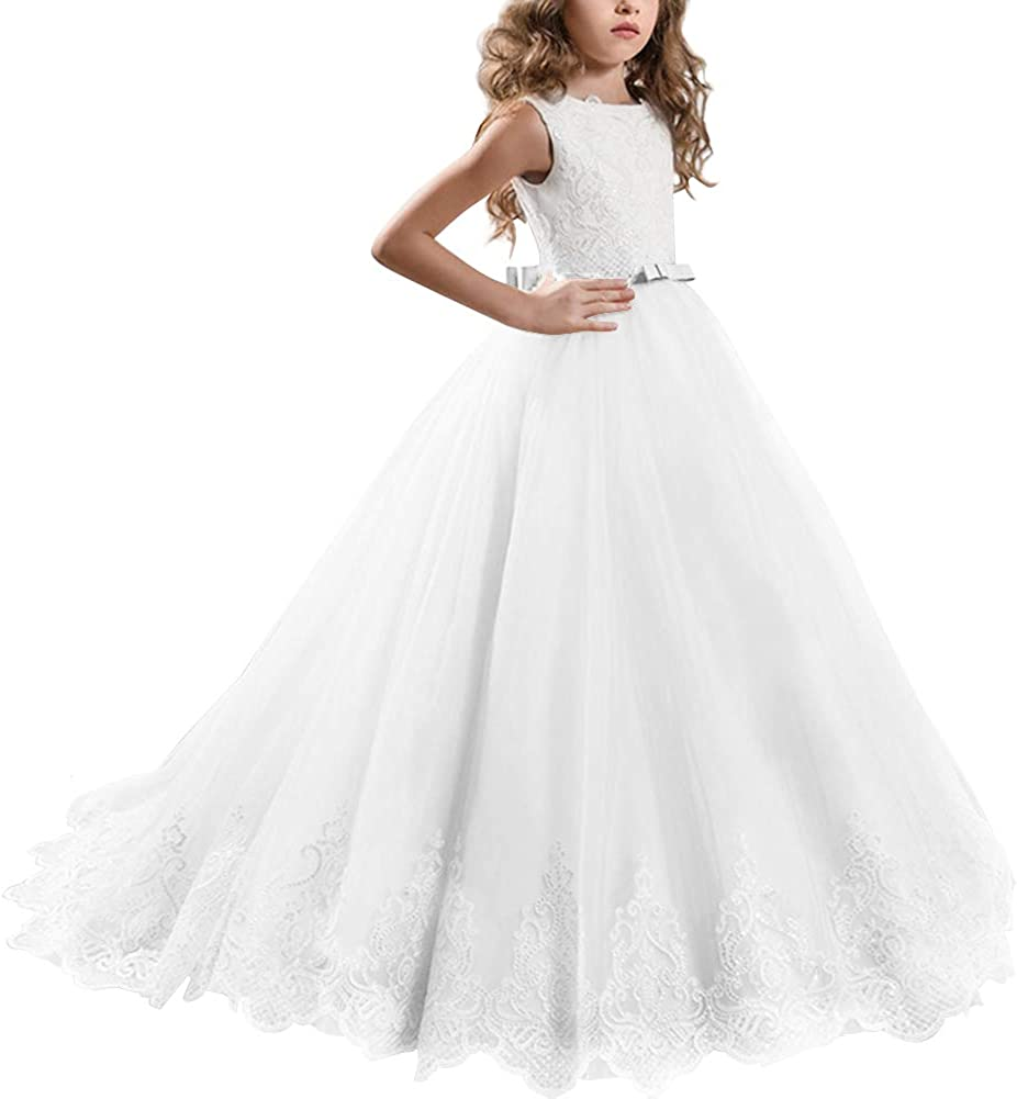 Fymnsi Flower Girl Party Dresses, Children's Long Evening Dresses,  Bridesmaids Wedding Dress, Party Dress, Festive Clothing, Pageant, Lace  Tulle ...