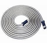 Buyplus 304 Stainless Steel Metal Garden Hose-Never Kink, Watering Lawn, Yard/Garden, Car Wash (50FT)