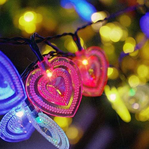 JIANMIN Decoración para el hogar Luces solares del corazón, luces al aire libre del corazón 4.8m 20 LED impermeable con 2 modos de iluminación para exteriores, jardín, decoraciones de Navidad