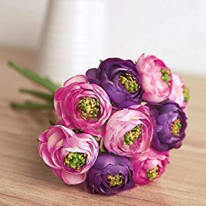 Artificial and Dried Flower 9pcs/ Bouquet Artificial Silk Flowers Ranunculus Real Touch Silk Flowers Simulation Flower for Wedding Home Table Decoration – ( Color: sph70710 )