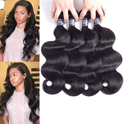 "Amella Hair 8A Brazilian Virgin Body Wave Human Hair (14"" 16"" 18"" 20"",400g)100% Unprocessed Brazilian Body Wave Virgin Hair Weave Natural Black Brazilian Body Wave Human Hair Bundles"