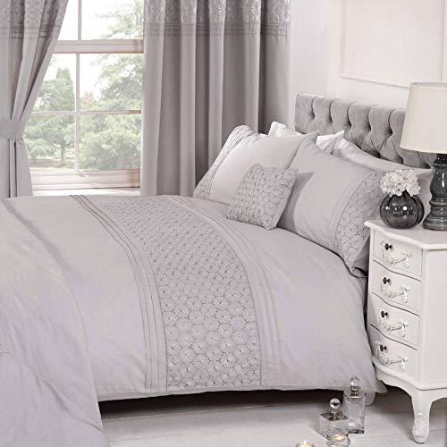 Floral Lit Simple Housse de Couette et taie d'oreiller Parure de lit brodée Argent