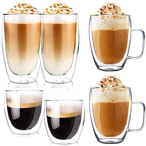 Latte macchiato gläser set 6 Gläser   Thermogläser Doppelwandig   Kaffeeglas, Trinkgläser, Teegläser, Cappuccino Gläser aus Borosilikatglas (2x250ml + 2x350ml (mit Henkel) + 2 x 450 ml)