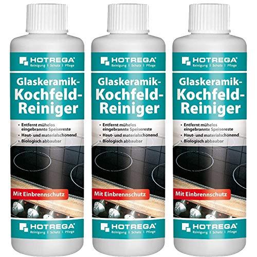 3 x HOTREGA Glaskeramik-Kochfeld-Reiniger 250ml Flasche