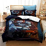 Vankie Bedding Set 3Pieces, Nightmare Before Christmas Duvet Cover Set Jack and Sally Throne Cartoon Bedding with 1 Duvet Cover, 2 Pillow Shams, No Comforter (King (264x228CM))
