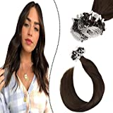 Ugeat 50cm Loop in Extensions Echthaar Individuell 50Stuck 1G/S Remi Brasilianer Micro Ring Links Haarverlangerung Schokoladenbraun #4