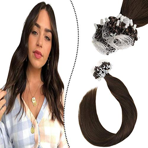 Ugeat 55cm Loop in Extensions Echthaar Individuell 50Stuck 1G/S Remi Brasilianer Micro Ring Links Haarverlangerung Schokoladenbraun #4