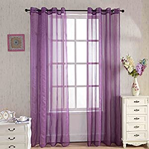 crib bedding and baby bedding 2 pieces sheer curtains,solid voile window treatment drapes grommet curtain panel for nursery room bedroom living room office (52x63 inch, purple(stripe))