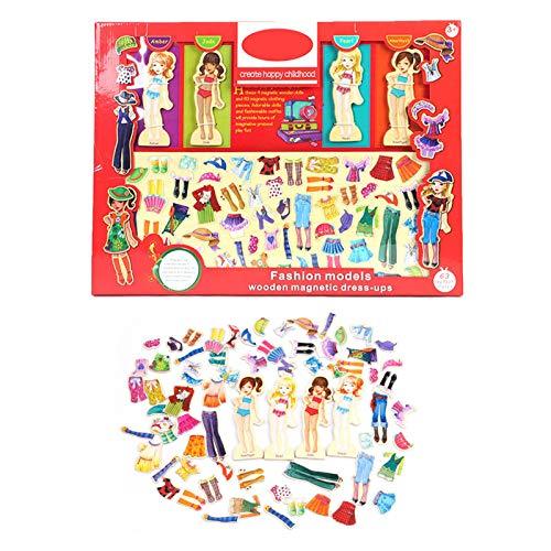 Magnetic Dress-Up, Holzpuppe Pretend Play Set - 63PCS Magnetic Girl Geänderte Kleidung - Magnetisches Menschliches Körperspielset Mit 63 Aufklebern, 4 Holzpuppen- Dress Up Puzzle Toy, 45,5×34,5×2,6 Cm