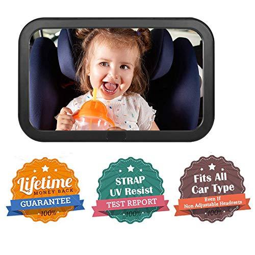 OUNDEAL Spiegel Auto Babys R/ückspiegel Baby Auto Bruchsicherer R/ücksitzspiegel f/ür Babys Einstellbar Sicherheitsspiegel Babyspiegel f/ür Autositz 360/° Schwenkbar Gr/ö/ße 290x190 mm