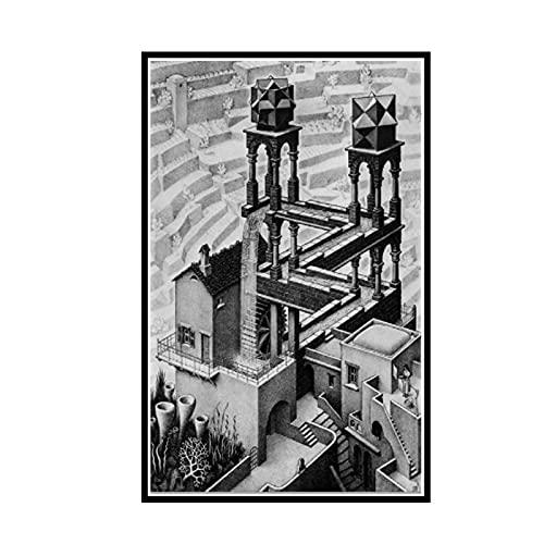 GUICAI Loop Ilusión óptica Litografía Cascada Sala de Estar Decoración de Pared para el hogar Póster de Tela -50X75 cm Sin Marco 1 Uds