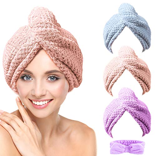 CHOOBY 3+1 Pack Hair Towel Wrap Fast Drying Hair Turban, Anti-Frizz Microfiber Wet Hair Wrap Towel for Women, Ultra Absorbent Hair Dry Towels Cap for Bath Makeup Washing face (Pink/Purple/Gray)