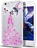 Funda para iPhone 6S Plus, iPhone 6 Plus, ikasus Crystal Clear Bling Glitter Sparkle Angel Girl Ultra Slim Flexible marco de silicona suave TPU Bumper Caucho Funda protectora para iPhone 6S/6 Plus 5.5, rosa