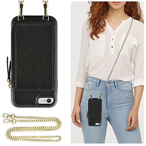 ZVE Case for Apple iPhone 6s Plus and iPhone 6 Plus, 5.5 inch, Leather Wallet Case with Crossbody Chain Credit Card Holder Slot Zipper Pocket Purse Case for Apple iPhone 6s Plus / 6 Plus 5.5 - Black