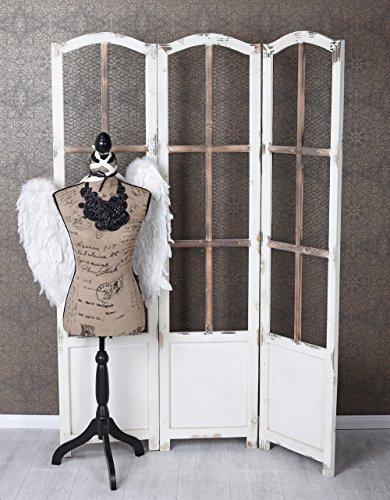 Unbekannt Vintage Paravent Holzparavent Drahtgitter Raumteiler Sichtschutz Spanische Wand Palazzo Exklusiv