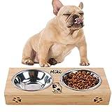 YTFAIFEN - Ciotola per cani e conigli, in legno per animali domestici, singolo e due contenitori in metallo, personalizzazione del nome dell …