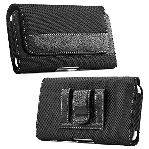 Luxmo Holster Case for Alcatel TCL LX, 1X Evolve, idealXTRA - Synthetic PU Leather Fabric Belt Clip/Loops Phone Pouch Holder and Atom Cloth - Black