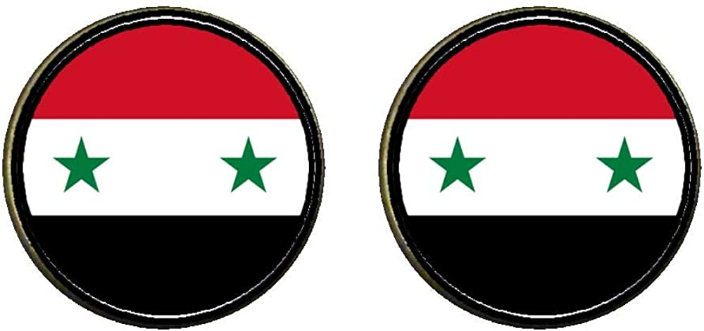GiftJewelryShop Bronze Retro Style Syrian Arab Republic flag Photo Clip On Earrings 14mm Diameter