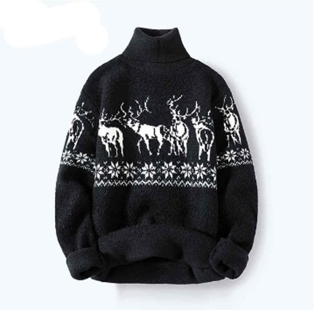 ZYING Autumn Casual Turtleneck Men Sweater with Deer Pullover Men Clothing Korean Men Turtle Neck Winter Clothes (Color : Style 1)
