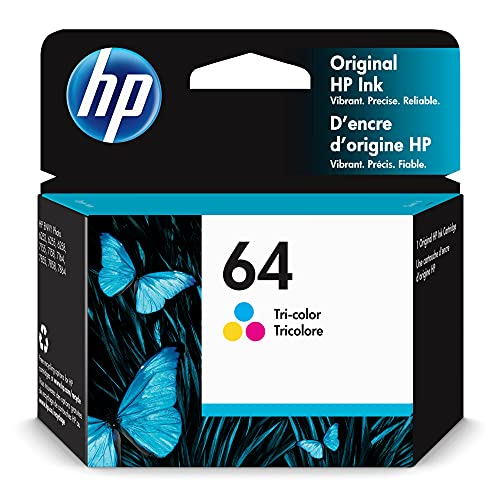Original HP 64 Tri-color Ink Cartridge   Works with HP ENVY Photo 6200, 7100, 7800 Series   Eligible for Instant Ink   N9J89AN