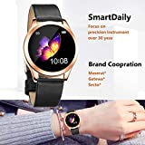 SmartDaily Rose Gold Smart Watch for Women, Color Touch Screen Ladies Smartwatch Waterproof IP68, Women Fitness Tracker with Heart Rate, Pedometer, Calories for Aandroid/iPhone, Gift for Girls Women
