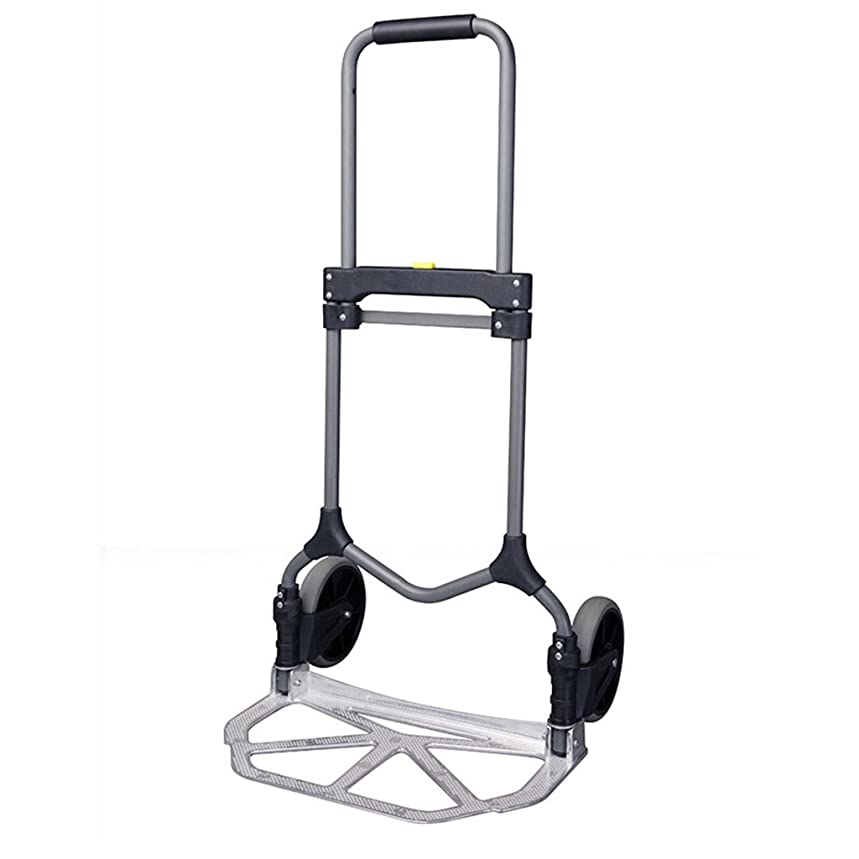 Shopping Cart Travel Trailer Pull Rod Trolley Hand Truck Trolley Van Fold Household Mute Two Wheelers Trolley Load 90KG Strong and firm (Color : Silver)