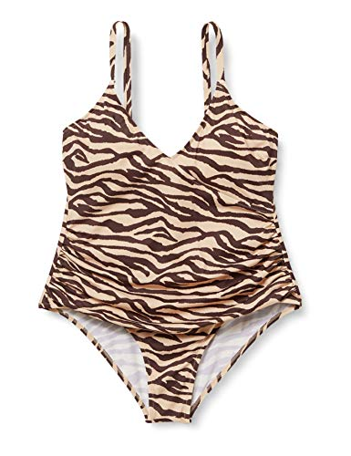 Amazon-Marke: Iris & Lilly Damen Figurformender Shaping Badeanzug, Mehrfarbig (Leopard), XXL, Label: XXL