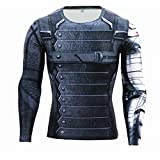 HIMIC E77C Hot Movie Super Hero Quick-Drying Elastic T-Shirt Costume (XX-Large, Winter Soldier Long Sleeve)