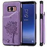 TACOO Galaxy S8 Case Cover, Leather Card Cash Slot Protective Cover Durable Shell Kickstand Purple Soft Unisex Boy Girl ID Window Men Women