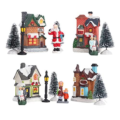 Kuyatioo Ornamenti per La Casa del Villaggio di Natale, Set del Villaggio di Natale, Case con Paesaggio Innevato, Set da Costruzione del Villaggio, Artigianato con Scene Natalizie Illuminate