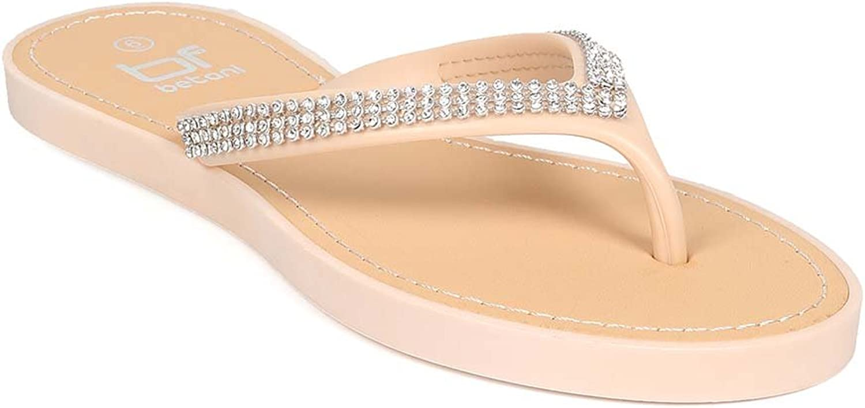 Women PVC Rhinestone Thong Flat Sandal EH53 - Beige