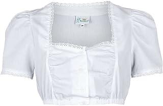 Trachten Stoiber Damen Dirndl Bluse Spitzenbordüre weiß, Weiß, 32