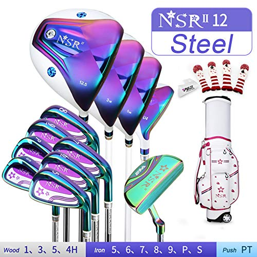 YPSMCYL Damen-Set High-End-Proficlub Komplettes Set Golfschläger Golfschlägerset 12 Damen-Golfschläger Komplettes Set Aus Carbon- Und Stahlschaft,Purple-Steel