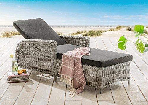 Destiny Liege Casa Luna Vintage Weiß Polyrattan Gartenliege Relaxliege & Polster Anthrazit