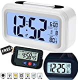 SuperKart Chilly Fit Plastic Smart Digital LCD Alarm Clock, Automatic Sensor, Large Back-Light Display, Date and Temperature for Bedroom, Students, Kids, Heavy Sleepers, Office and Home (White)