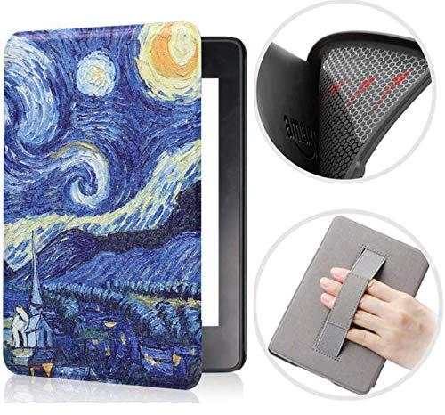 Capa Kindle Paperwhite 10ª geração à prova d'água - Função Liga/Desliga - Fechamento magnético - Silicone com Alça de Leitura - Van Gogh