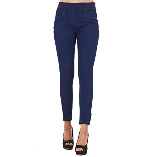 c063d259c1fdf Ladies Skinny Fit Pull On Womens High Waist Stretch Denim Ankle Jeggings